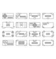 lineart letter envelope set greeting card paper vector image vector image