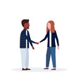 mix race man woman couple handshake casual vector image