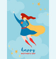 mothers day greeting card with super mom vector image