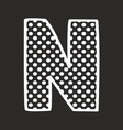N alphabet letter with white polka dots on black vector image vector image