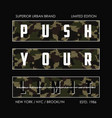 push your limit - knitted camouflage slogan for vector image vector image