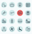 set of 16 transportation icons includes armchair vector image vector image