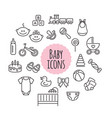 set of baby icons flat style signs vector image vector image