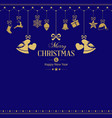 Set of hanging golden christmas ornaments with