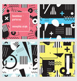 set of seamless patterns in memphis style black vector image vector image