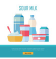 set traditional dairy products from sour milk vector image vector image