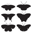 Set with butterfly silhouettes isolated on white