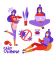 set women stay and do activity at home vector image vector image