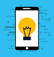 smartphone with light bulb isolated icon vector image vector image