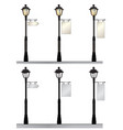 street lamp set retro street lights with a sign vector image vector image