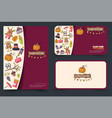 thanksgiving concept set of a flyer and business vector image