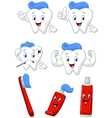 Tooth brush and tooth paste cartoon character col vector image vector image