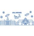 usa massachusetts harvard winter city skyline vector image vector image