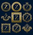 vintage monograms set of z letter vector image