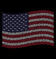 waving united states flag stylization of key icons vector image vector image