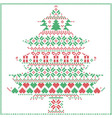 winter pattern in Christmas tree shape in red and vector image vector image