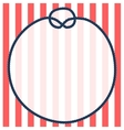 Round navy blue rope frame with a knot on striped vector image