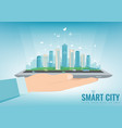 smart city on a digital touch screen tablet with vector image