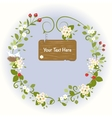 Vintage Wooden sign Romantic Flowers Bird Spring vector image