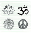 culture symbols set lotus mandala mantra om and vector image
