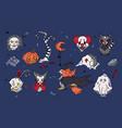 big set of spooky halloween cartoon characters vector image