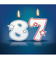 Birthday candle number 87 vector image vector image