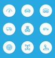 car icons line style set with steering wheel vector image vector image