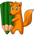 cartoon fox character with big pencil vector image vector image