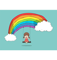 Cartoon girl swinging on a rainbow drawing by hand vector image