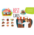 cartoon tasty desserts colorful concept vector image vector image