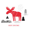 christmas greeting card with a moose vector image