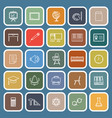 classroom line flat icons on blue background
