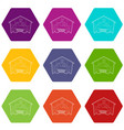 covered car parking icons set 9 vector image vector image