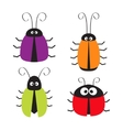 Cute bug set Funny cartton character Baby design vector image vector image