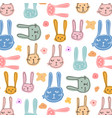 cute bunny and floral pattern background vector image vector image