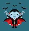 cute cartoon tiny dracula smiling vector image