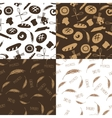 Doodle bakerybread silhouette seamless pattern vector image vector image