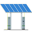 electric car charging station with solar panels vector image