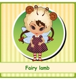 Fairy lamb - cute girl in brown dress vector image