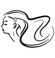 fashion portrait line woman in profile vector image