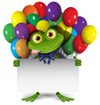 Frog and Balloons vector image vector image