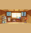 garage interior with workbench and tools vector image