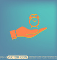 hand holding a Symbol morning Alarm icon The vector image vector image
