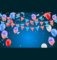 hanging bunting flags for american holidays card vector image vector image