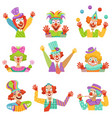 happy cartoon friendly clowns character colorful vector image