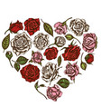 heart floral design with colored roses vector image vector image