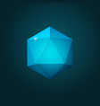 icosahedron on dark blue background vector image vector image