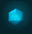 icosahedron on dark blue background vector image vector image