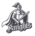 Monochrome knight sport logo vector image vector image