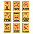 no smoking sign set smoking is prohibited sticker vector image vector image